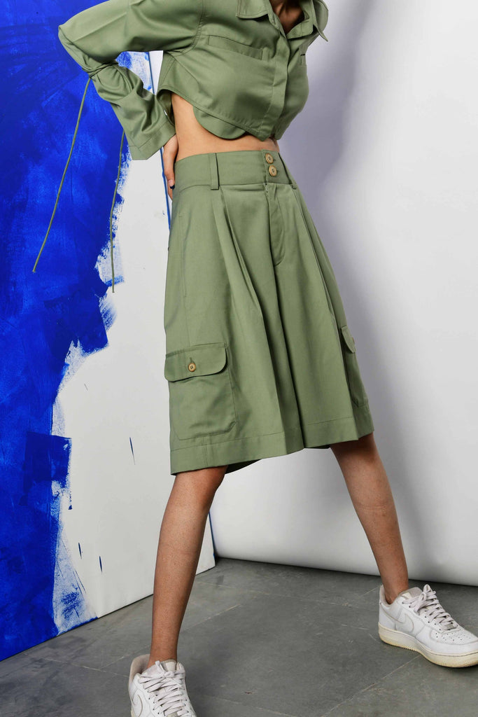 Polite Society PALE GREEN HIGH WAISTED DOUBLE PLEATED BERMUDA SHORTS WITH SIX POCKETS side view