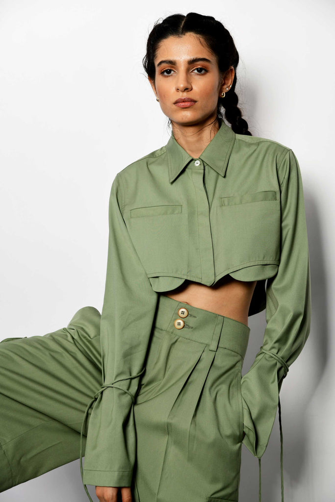 Polite society PALE GREEN CROPPED SHIRT wit full sleeves front view