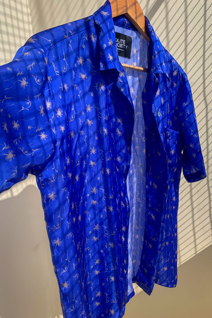 Polite society unisex viscose satin blue dried flower shirt side view
