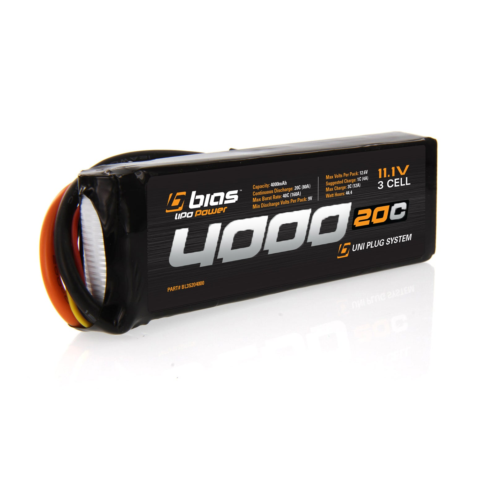 Bias RC 20C 3S 4000mAh 11 1V LiPo Battery Deans Tamiya EC3 Traxxas Plug x2 Packs
