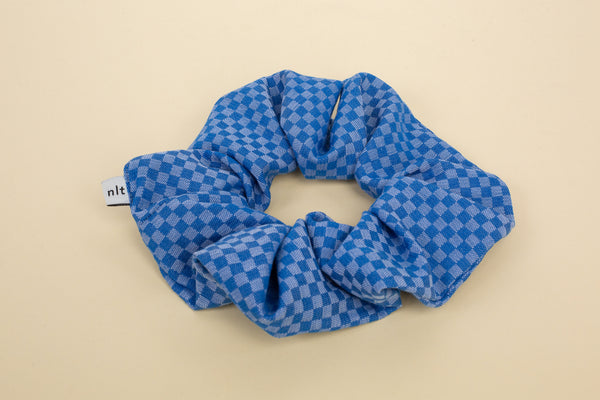 Scrunchie - Indigo Checker