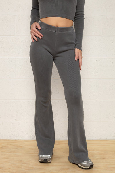 Full Length Flare Rib Pants - Charcoal