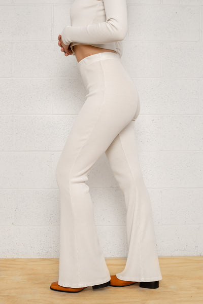 Full Length Flare Rib Pants - Oatmilk