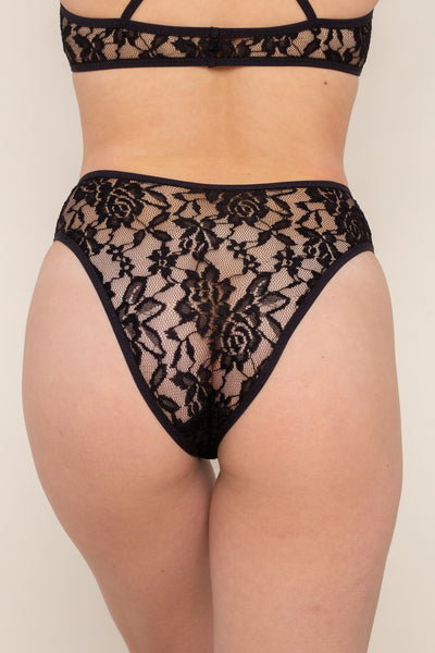 Lace Cheeky Underwear - Black
