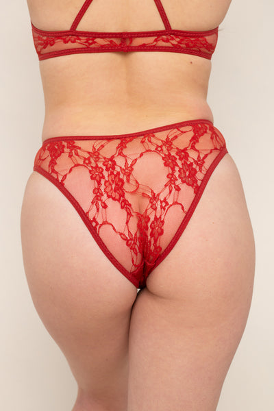 Lace Cheeky Underwear - Cherry