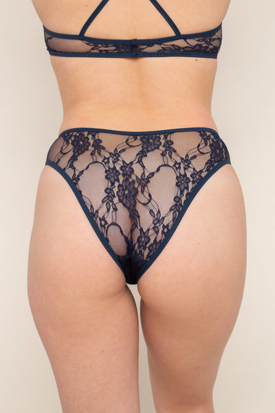 Lace Cheeky Underwear - Navy