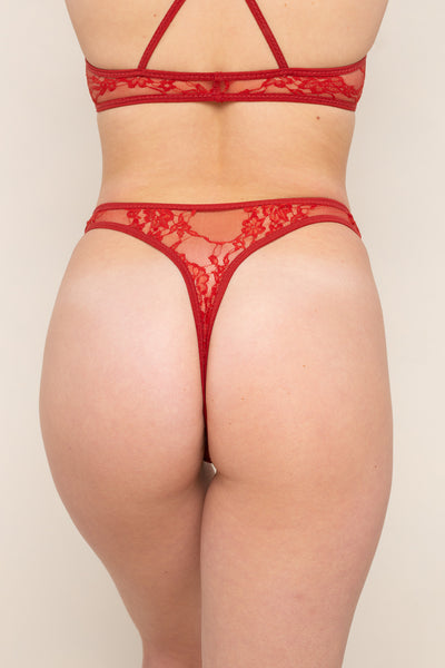 Lace Thong Underwear - Cherry