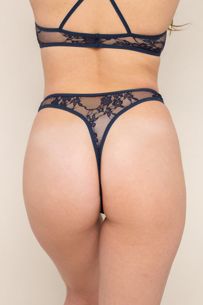 Lace Thong Underwear - Navy