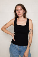 Square Neck Tank (Regular Length) - Black