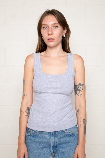 Square Neck Tank (Regular Length) - H Grey