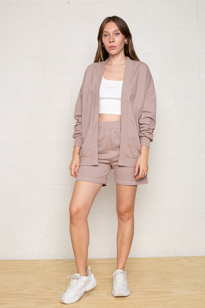 Easy French Terry Open Front Cardigan - Mocha