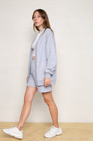 Easy French Terry Open Front Cardigan - H Grey