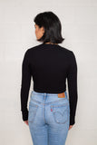 Long Sleeve Rib Top (Crop Length) - Black