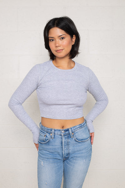Long Sleeve Rib Top (Crop Length) - H Grey
