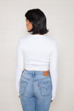 Long Sleeve Rib Top (Crop Length) - White