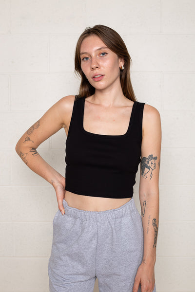 Square Neck Tank (Crop Length) - Black