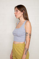 Square Neck Tank (Crop Length) - H Grey