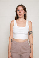 Square Neck Tank (Crop Length) - Ivory