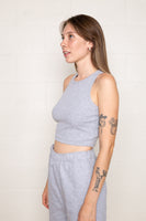 Hi-Neck 2x1 Rib Tank (Crop Length) - H Grey