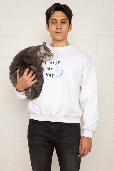 I Miss My Cat Crewneck Sweatshirt - Oatmilk