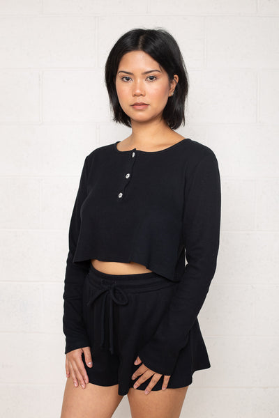 Thermal Henley Tee with Flower Buttons (Crop Length) - Black