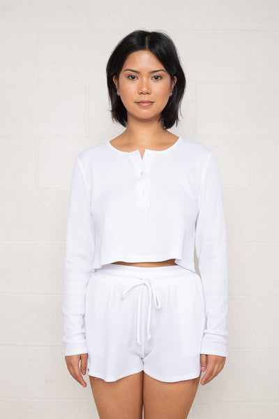 Thermal Henley Tee with Flower Buttons (Crop Length) - White