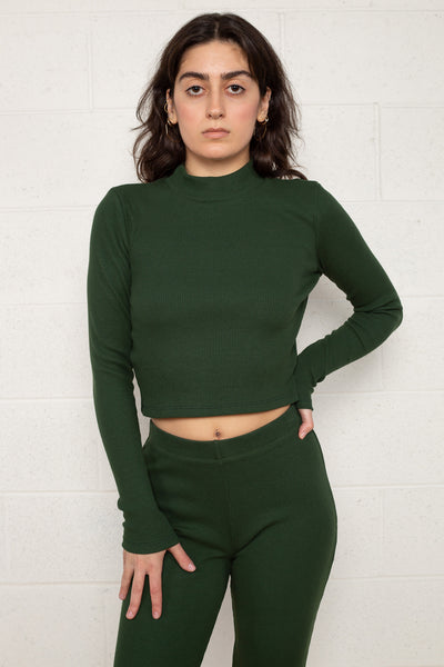 Rib Mock Neck Long Sleeve (Crop Length) - Lawn