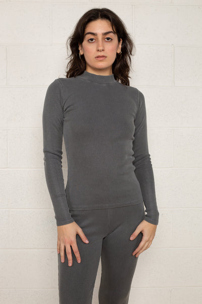 Rib Mock Neck Long Sleeve (Regular Length) - Charcoal