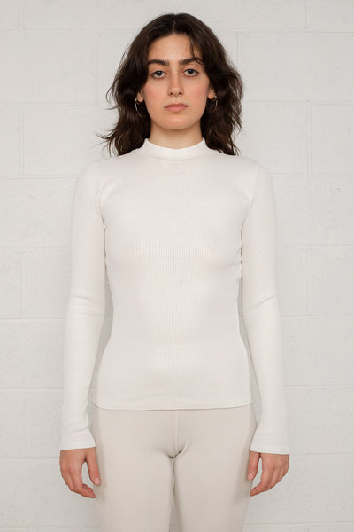 Rib Mock Neck Long Sleeve (Regular Length) - Oatmilk