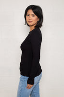 Long Sleeve Rib Top (Regular Length) - Black