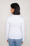 Long Sleeve Rib Top (Regular Length) - White