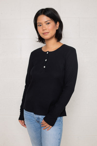 Thermal Henley Tee with Flower Buttons (Regular Length) - Black