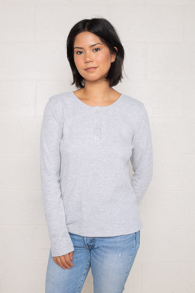 Thermal Henley Tee with Flower Buttons (Regular Length) - H Grey