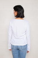 Thermal Henley Tee with Flower Buttons (Regular Length) - White