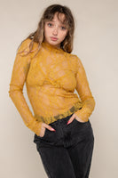 Mock Neck Long Sleeve Lace Top (Regular Length) - Honey