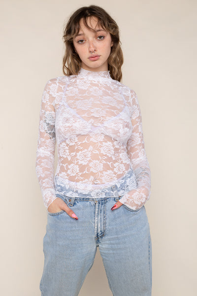 Mock Neck Long Sleeve Lace Top (Regular Length) - Ivory