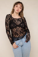 Scoop Neck Long Sleeve Lace Top (Regular Length) - Black