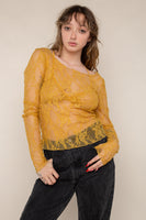 Scoop Neck Long Sleeve Lace Top (Regular Length) - Honey