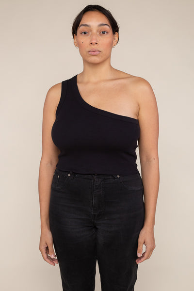 One Shoulder 2x1 Rib Tank (Crop Length) - Black