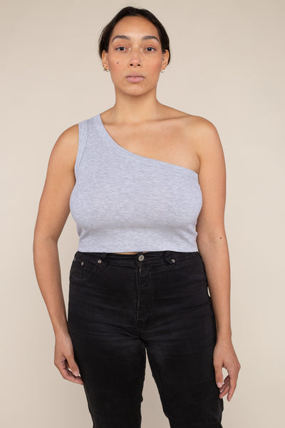 One Shoulder 2x1 Rib Tank (Crop Length) - H Grey
