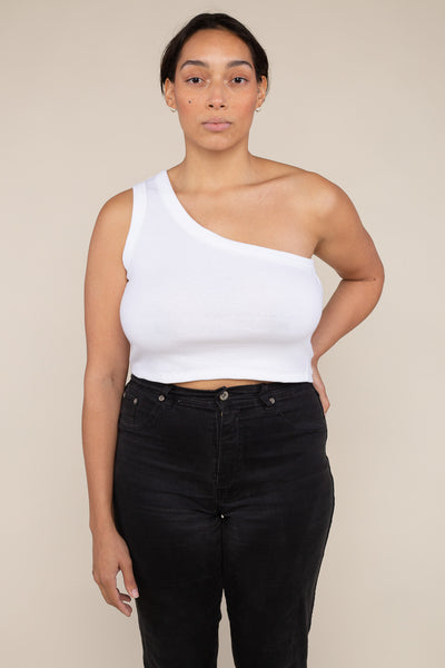 One Shoulder 2x1 Rib Tank (Crop Length) - Ivory