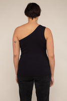 One Shoulder 2x1 Rib Tank (Regular Length) - Black
