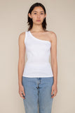One Shoulder 2x1 Rib Tank (Regular Length) - Ivory