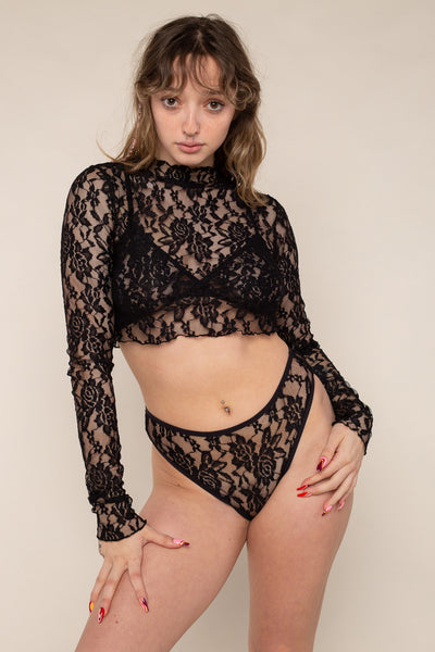 Mock Neck Long Sleeve Lace Top (Crop Length) - Black