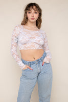 Scoop Neck Long Sleeve Lace Top (Crop Length) - Ivory
