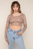 Scoop Neck Long Sleeve Lace Top (Crop Length) - Taupe