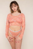 Scoop Neck Long Sleeve Lace Top (Crop Length) - Peach