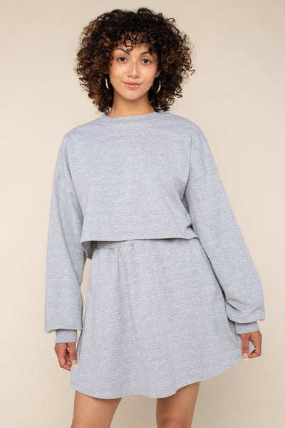 French Terry Sweatshirt (Crop Length) - H Grey