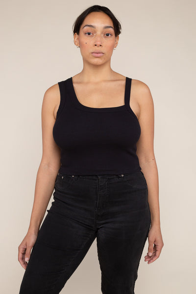 Asymmetrical Strap 2x1 Rib Tank (Crop Length) - Black