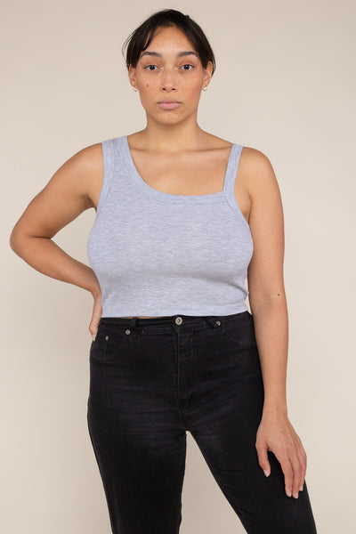 Asymmetrical Strap 2x1 Rib Tank (Crop Length) - H Grey